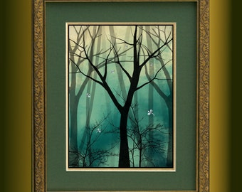Fantasy Landscape Digital Painting Trees and Dragonflies Art Print -- Everlast -- Limited Edition of 50 --12 x 16