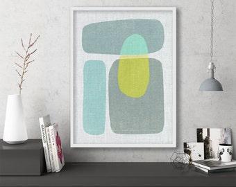 "mid century modern art, mid century modern wall art, large art, printable art, instant download, large wall art, abstract art - ""Pods No. 6"""
