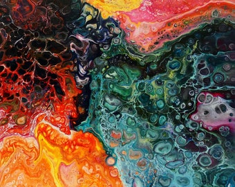 Uplifting is made by AjAspinall AbstractArt created on canvas one-off original unique painting signed Certificate of Authenticity