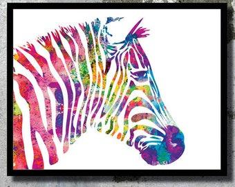 Zebra Watercolor Art Print Zebra painting Home decor Animal Watercolor Zebra poster wall art Nursery Decor Animal Illustration Children room