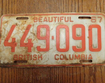 Vintage License Plate 1967, Old License Plate Vintage, Old License Plate Vintaqe, British Columbia License Plate, Red and White License