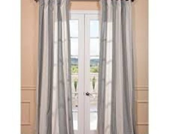 Grey and White Stripe Window Treatments/ Curtains, Grey and White cotton curtains, living rooom curtains, grey curtains