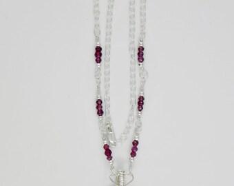 Garnet Sterling Argentium Silver Wire Wrap Necklace