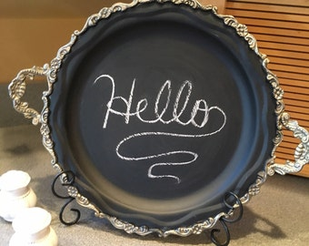 Round Silverplate Tray Chalkboard Message Center with Handles