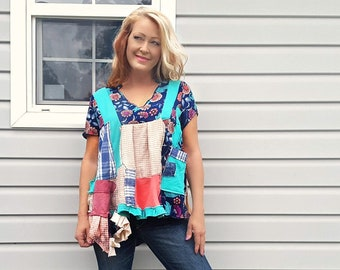 1X XL Women's Tunic, Upcycled Clothing Altered Top Plus Boho Chic One of Kind Refashioned Recycled Art Wear Patchwork Hippie Style SHELBY