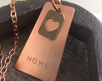 Hand-stamped Copper Saskatchewan Home Necklace