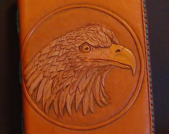 Handmade leather book.  Hand tooled carved Eagle Head.  Blank Book Bespoke Made to Order