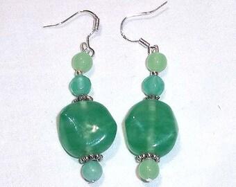 Beaded Dangle Earrings of Jade Green Lampwork Glass Beads
