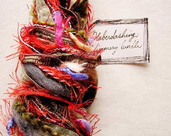 Modern Art red grey blue pink green fringe trim mix Novelty Fiber Yarn Ribbon Sampler Bundle