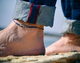 Anchor anklet for men, men's anklet with a silver anchor, blue cord, anklet for men, gift for him, men's ankle bracelet, nautical jewelry
