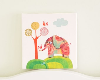 Canvas art for kids, Canvas nursery art, Nursery art elephant, Elephant decor for nursery, baby room wall decor