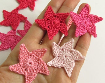 Crocheted stars, 3.5 cm appliques, pink mix, 12 pc.