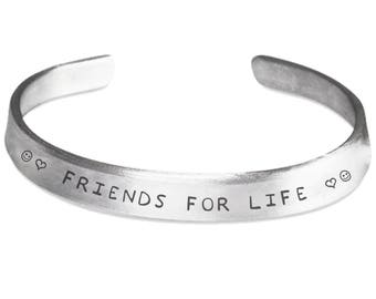 Friends for life stamped bracelet