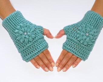 Mint green fingerless gloves, crochet fingerless gloves, womens gloves, winter gloves, hand warmers, fingerless mittens, wrist warmers