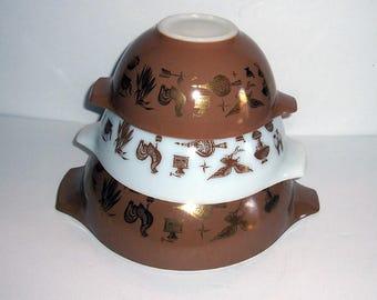 Vintage 3 PYREX Cinderella EARLY# AMERICANA Mixing Nesting Bowls #444 #443 #442