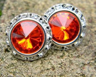 Orange Stud Earrings, 16mm Swarovski Rivoli Stud Earrings, Rhinestone Earrings, Wedding Earrings, Crystal Studs, Large Stud Earrings