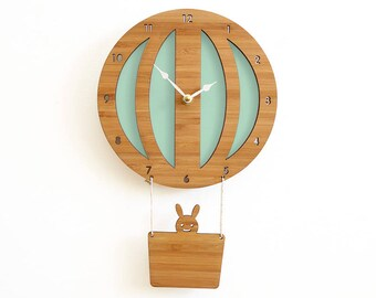 Hot Air Balloon seafoam clock, neutral baby decor, baby shower gift idea, holiday gift, pale aqua