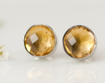 Sterling Silver Round Citrine Studs, November Birthstone Stud Earrings, Simple Stud Earrings, Gemstone Post Earrings, Bridal Party Jewelry