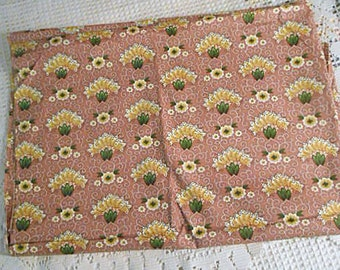 Vintage Art Deco LIBERTY Floral Fan FABRIC Detailed Flowers Dots Scrolls, Gold & Reddish Brown Green Leaves, Quilt Pillow 36 x 48  1930 Find