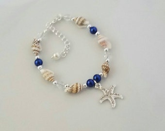 Sea Shell Starfish Bracelet Wedding Jewelry Bridesmaid Gift Bridal Starfish Jewelry Seashell