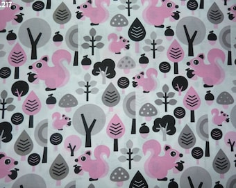 Pink fabric C217 squirrels and trees grey coupon 35x50cm