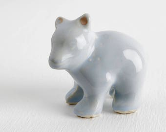Vintage Shawnee Pottery Small Blue Bear Cub Figurine, Mid Century Modern 1950s Polar Bear Decor