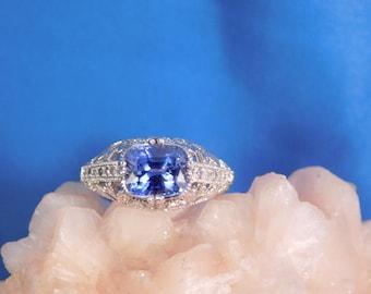 2.85 Ct. Cushion Tanzanite and Diamond Art Deco Style Filigree Sterling Silver Ring