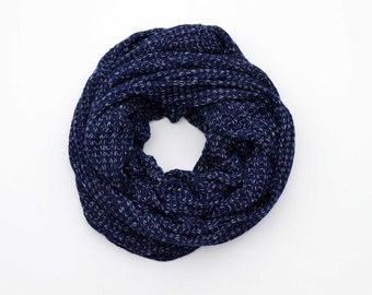 Blue cowl scarf, boyfriend gift, chunky scarves, infinity scarf, mens scarf, oversized scarf, blue snood, men's clothing, dad gift