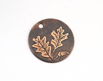 Copper oak leaves charm, fall acorn, small flat round handmade etched jewelry supply, 22mm