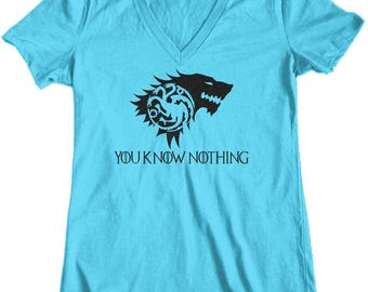 Women's Game of Thrones Rhaegar + Lyanna = Jon Snow You Know Nothing Junior Fit V-Neck T-Shirt