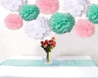 18PCS Mixed Pink Mint Green White DIY Tissue Paper Flower Pom Poms Wedding Birtday Baby Shower Hanging Party Decoration