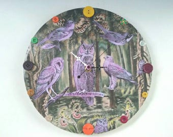 Beautiful Decoupaged Wooden Nature Wall Clock, Vintage Bird Illustrations, Handmade, Owl Clock, Charles Burchfield, Repurposed, Made By Mod