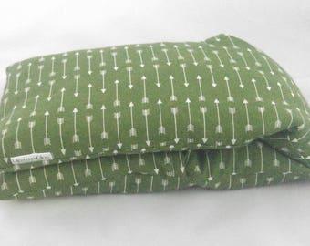 Microwave heating pad. WASHABLE COVER Barley/Flax Heat Bag, like corn rice wheat. Green White Arrows by UptonElm