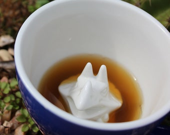 Triceratops Mug by CREATURE CUPS | Hidden Dino Inside | Dinosaur Ceramic Cup | Holiday / Birthday Gift for Coffee & Tea Lovers