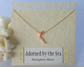 14kt Gold Filled Short Single Pink Coral Branch Necklace