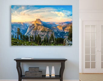 Yosemite Photography, Large Canvas Wall Art, Dreamy Landscape Panorama, Blue Gold National Park, Half Dome Sunset Photo, Glacier Point Print