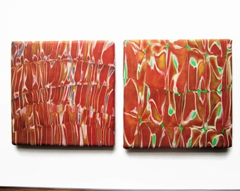 Tile Coaster or Small Trivet in Red and Gold with Either Green or Lavender Accent