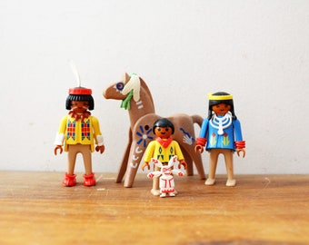 ON HOLD vintage Playmobil 1974 Native American Indians And Painted Horse Pretend Play Toy