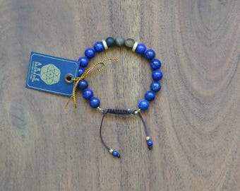 Lapis Lazuli and Tiger's Eye Quartz Bracelet
