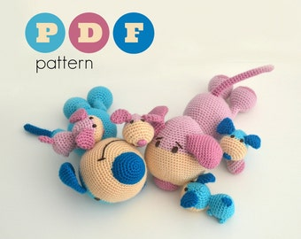 PDF Amigurumi dog family pattern. Father and mother dog and puppies crochet pattern. Instant download file in english and in greek.