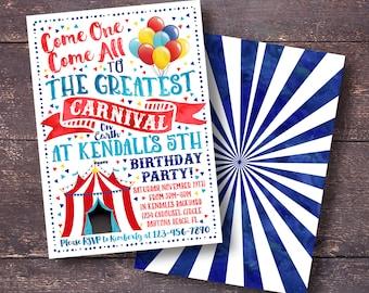 Carnival Invitation, Carnival Birthday Invitation, Circus Invitation, Circus Birthday Invitation, Carnival Party, Carnival Birthday