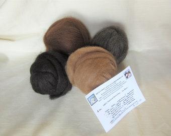 4 oz. Alpaca Roving - 100% Natural Black/Medium Brown/Medium Fawn & Medium Rose Grey Combo Pack For Spinning, Nuno Felting or Needlefelting