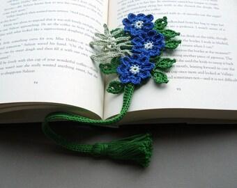 Crochet Bookmark — Blue Hepatica Flowers