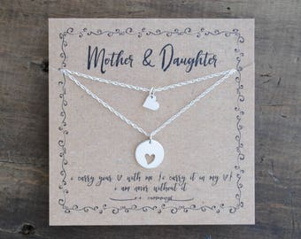 READY TO SHIP . Mother Daughter  Necklace  .  i carry your heart mother and a daughter  .  mother of the bride gift  . back to school gift