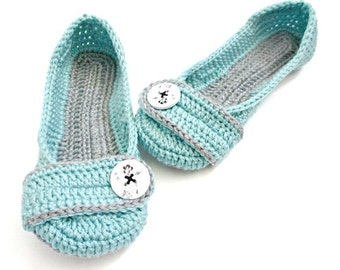 Women's Crochet Slippers - Button Slippers - Womens sizes 5 6 7 8 9 10 11- blue and gray - Custom made