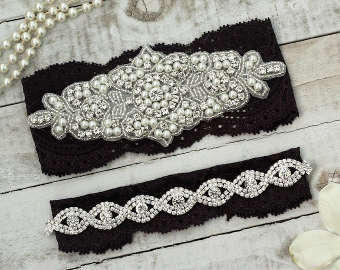 Plum Wedding Garter Set NO SLIP grip, pearl lace rhinestone, PLUM G08S-G*B19S