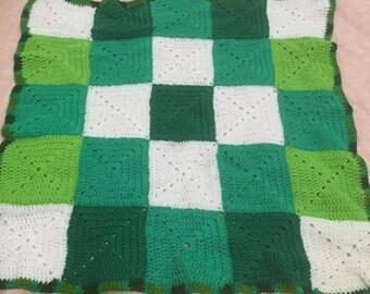 Crochet Green baby rug