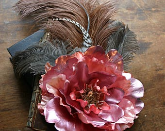Just Peachy Hair Clip  Fascinator - Steampunk, Wedding, Renaissance, Feather, Tribal Belly Dance, ATS, Hair Garden, Ostrich, Gray, Brown