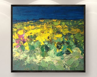 Sunflowers Canvas Art Abstract Landscape Wall Art Yellow Blue Abstract Art Wall Art Abstract Painting Sunflower Home Decor Large Painting