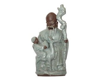 Vintage Chinese Ceramic Immortal, Chinoiserie Immortal Celadon Pottery, Ceramic Immortal Zhang Guo Figurine, Chinese Immortal w/Boy & Peach